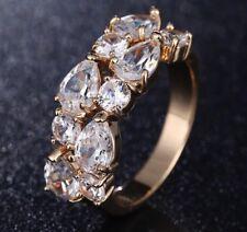 18k Rose Gold GP Band made w/ Swarovski Crystal Stone Engagement Band Ring