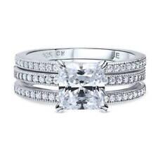 Silver Princess Cubic Zirconia CZ Solitaire Engagement Ring Set 2.37 CT