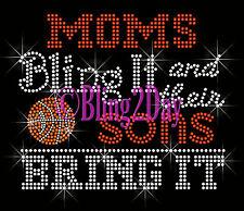 SPORTS - Moms Bling It - Sons Bring It - Rhinestone Iron on Transfer Mom