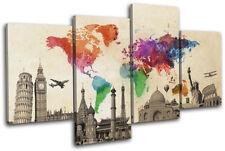 World Landmarks Atlas Maps Flags MULTI CANVAS WALL ART Picture Print