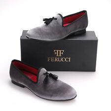FERUCCI Gray custom-made Velvet Slippers loafers with black tassel