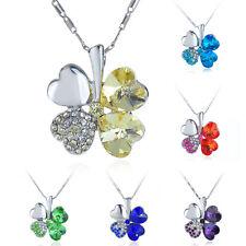 Modischer Kristallanhänger Halskette grün orange blau gelb silber Kleeblatt Herz