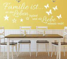 X182 Wandtattoo Spruch / Familie ist wo Leben beginnt und die Liebe Aufkleber