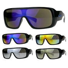 Mens Shield Robotic Kush Gangster Plastic Mirrored Sunglasses