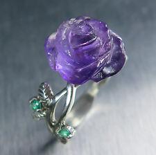 Natural Amethyst purple rose & emerald 925 Silver Gold Platinum ring