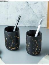 Ceramic Bottle Holder Bathroom Accessory Set Marble Mouthwash Cup Soap