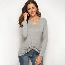 Ladies T-shirt Long Sleeve Twisted Neckline Hem Long Tunic Loose Tops Fashion ND