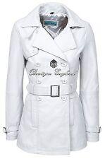 TRENCH Ladies White Classic Mid-Length Designer Napa Leather Jacket Coat 1123