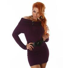Élégant tricot-robe avec ceinture violet #mk1096