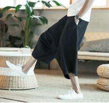 Men's Siam Japanese Style Boho Casual Loose Fit Capri Harem Baggy Hakama Pants