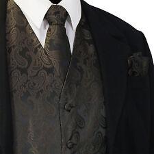 BROWN Paisley Tuxedo Suit Dress Vest Waistcoat & Neck tie & And Hankie Set 20-Q