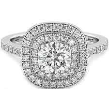 925 Silver Round Cut Created Diamond Halo Design Wedding Engagement Bridal Ring