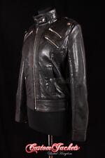 Mesdames instinct noir monté moto cool biker veste en cuir d'agneau