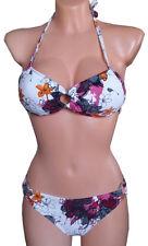 NEU CHIEMSEE Bandeau Bikini Neckholder Blumen weiß lila orange 32 34 A/B 164 170