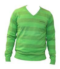 Maglia da uomo verde Billabong scollo a V cotone verde casual moda manica lunga