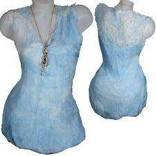 100% seda & punta blusa camisa top verano 36 38 40 42 azul pálido camisa blogueros S M