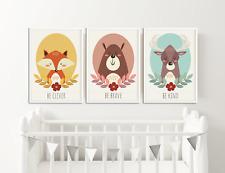 Fox Bear Deer Nursery Prints Pictures For Baby Nursery Bedroom Woodland Animals