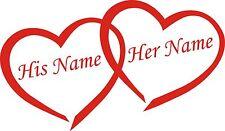 Wall Art Personalised Names & Love Hearts Vinyl Sticker 2 size wedding car decor