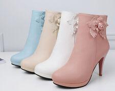 Botines botas zapatos elegantes mujer talón 9.5 como piel cómodo 9120