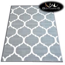 Moderne Tapis 'Flash' Géométrique Marocain Treillage gris pas cher décoratif