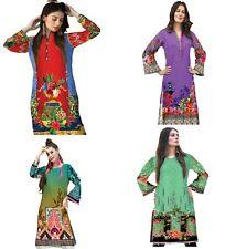 Plus Size Ladies Indian Bollywood Printed Designer Party Wear Long Kurti Tunic