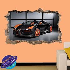 Super lux sport voitures bugatti 3D smashed autocollant mural chambre décoration autocollant murale