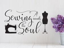 Pegatina de muro: sewing Mends the soul-coser nähecke sastres hobby murales