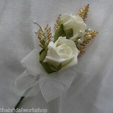 Flores De Boda Rosa Doble, Hoja Con cuentas & Perla Ojal novio Usher invitado