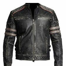 Homme biker vintage moto effet vieilli noir rétro veste en cuir