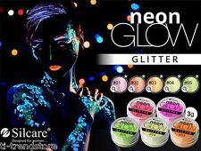 (€ 10ml/4,96) silcara GLITTER NEON GLOW UV Glitter Nail Art Colori Brillante 3gr