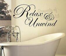 UNWIND RELAX SOAK BATH ED QUOTE WALL ART STICKER DECAL DIY HOME BATHROOM