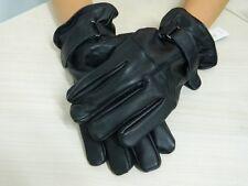 Guanti IRIS BLU in pelle nera interno in pile con chiusura a strappo OMA06
