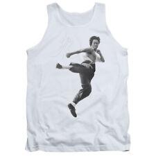 Bruce Lee Flying Kick Mens Tank Top Shirt WHITE