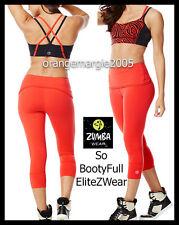 ZUMBA 2Pc.Set! Covered in Z Bra Top + Bootyful Capri Leggings Rev Red-EliteZWear
