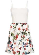 B16049156 Damen Violet Kleid Brustpolster geblümt Zipper hinten weiss rot