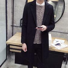 Men's Slim Trench Coat Long Single Breasted Overcoat Lapel Jacket Parka Outwear
