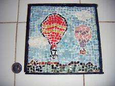 folkart mosiac tile Hot air ballon's in landscape GREAT