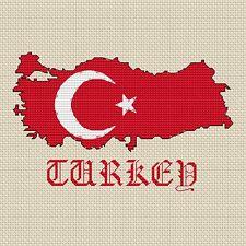 "Turchia Mappa & bandiera Cross Stitch Design (15x15cm, 6x6 "", kit o grafico, 14hpi)"