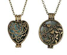 Leuchtend Medaillon Halskette Anhänger Herz Leuchten im Dunkeln Herzchen Kette