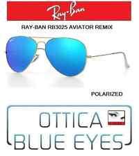 Occhiali da Sole RAYBAN AVIATOR 3025 Ray Ban REMIX GOLD BLUE POLAR sunglasses 4L