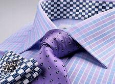 Billionaire Fashion Formal Business Dress Shirt Checkered Purple Blue Money Boss