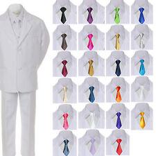 6pc Baby Toddler Kid Boy White Formal Wedding Suit Tuxedo w/ Satin Necktie S-7
