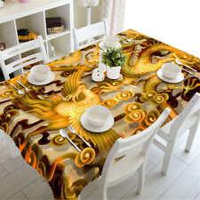 Golden Phoenix 3D Tablecloth Table cover Cloth Rectangle Wedding Party Banquet