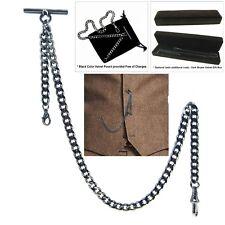 Gunmetal Albert Chain Pocket Watch Curb Link Chain T Bar Lobster + Swivel Clip