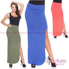 mujer falda larga cintura alta pierna con abertura Abierto lateral tamaño 8-12