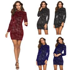 Sexy Women Long Sleeve Bodycon Dress Velvet High Collar Pencil Mini Club Dresses