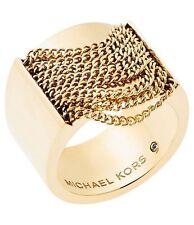 NEW MICHAEL KORS GOLD TONE,FRINGE CHAIN SWAG BARREL RING,BAND MKJ5795 SIZE 7
