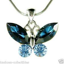 w Swarovski Crystal Bridal Wedding Dark Navy BLUE BUTTERFLY Pendant Necklace New