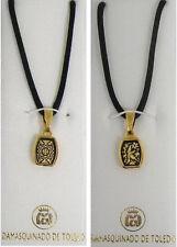 Damascene Gold Rectangle Shape Pendant Necklace by Midas of Toledo Spain 8206