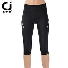 CHEJI Women's Bike Bicycle Shorts Black Gel Padded 3/4 Cycling Pants Reflective
